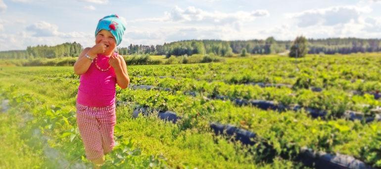 Tyttö iloisena mansikkamaalla